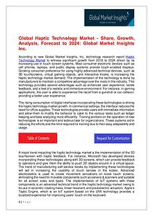 Haptic Technology Market - Share, Growth, Analysis, Forecast to 2024