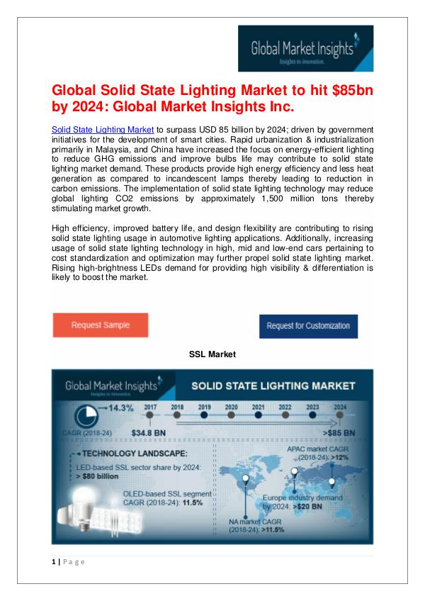 Europe OLED based SSL Market to 11%CAGR from 2018 to 2024 Solid State Lighting Market