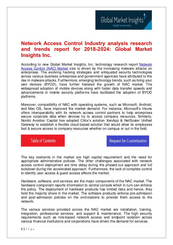 Network Access Control Market trends research for 2018-2024 Network Access Control (NAC) Market