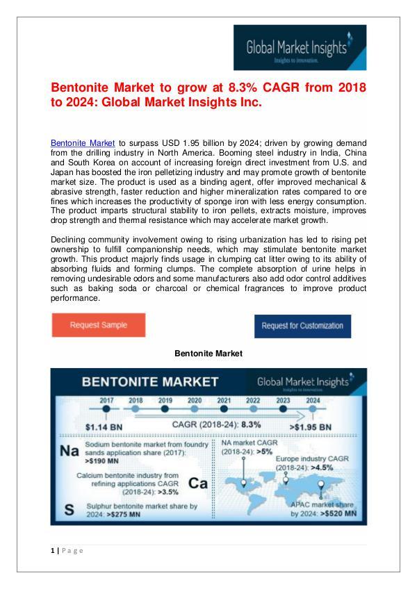 Global Bentonite Market to hit US$1.95 bn by 2024 Bentonite Market