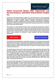 Acrylamide Market 2019 By Industry Growth & Regional Trend To 2025