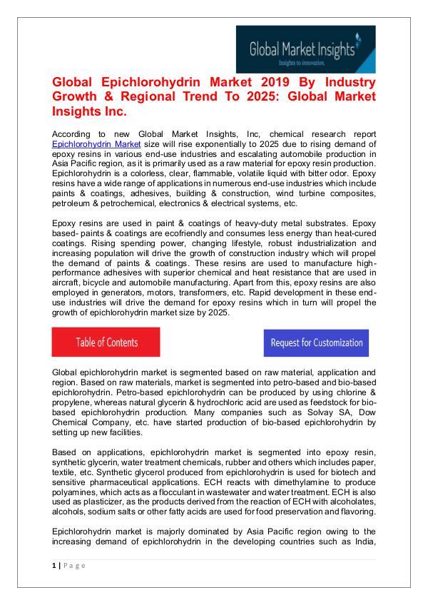 Epichlorohydrin Market - Share, Growth, Analysis, Forecast to 2025 Epichlorohydrin Market