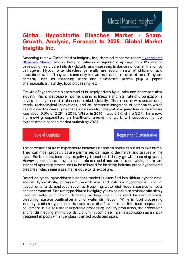 Hypochlorite Bleaches Market - Share, Growth, Analysis Hypochlorite Bleaches Market