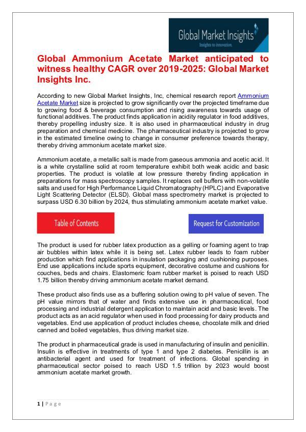 Ammonium Acetate Market 2019 Regional Growth Drivers Ammonium Acetate Market