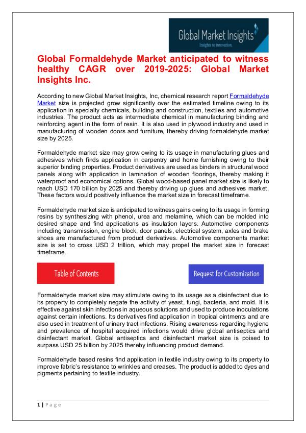 Global Formaldehyde Market 2019 By Regional Trend Formaldehyde Market