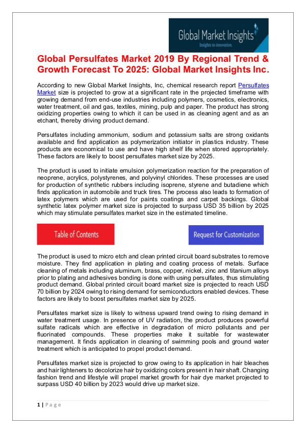 Persulfates Market anticipated to witness significant growth by 2025 Persulfates Market