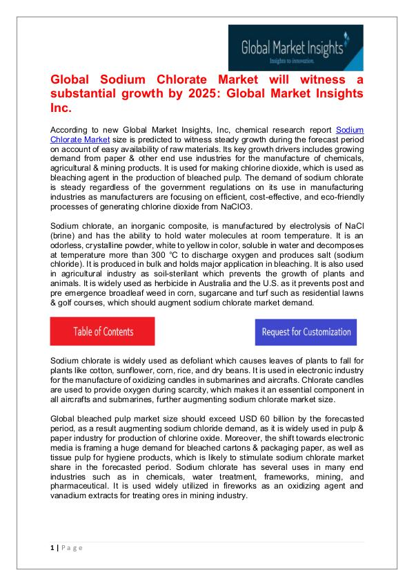 Sodium Chlorate Market will witness a substantial growth by 2025 Sodium Chlorate Market