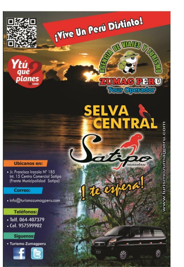 Programa de tours para Fiestas Patrias en Satipo PROGRAMA DE TOURS PARA FIESTAS PATRIAS 2018