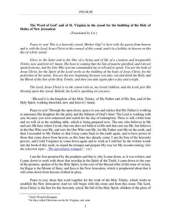 The Word of God in Romania n the synod for the building of the Holy of Holies of New Jerusalem 1991.06.09 - The Word of God and of St. Virginia i