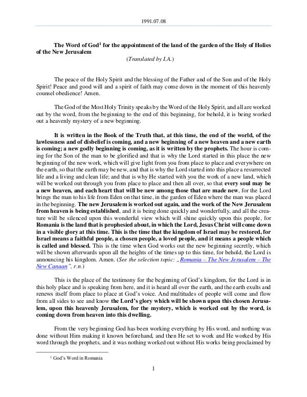 The Word of God in Romania f the land of the garden of the Holy of Holies of the New Jerusalem 1991.07.08 - The Word of God for the appointment o
