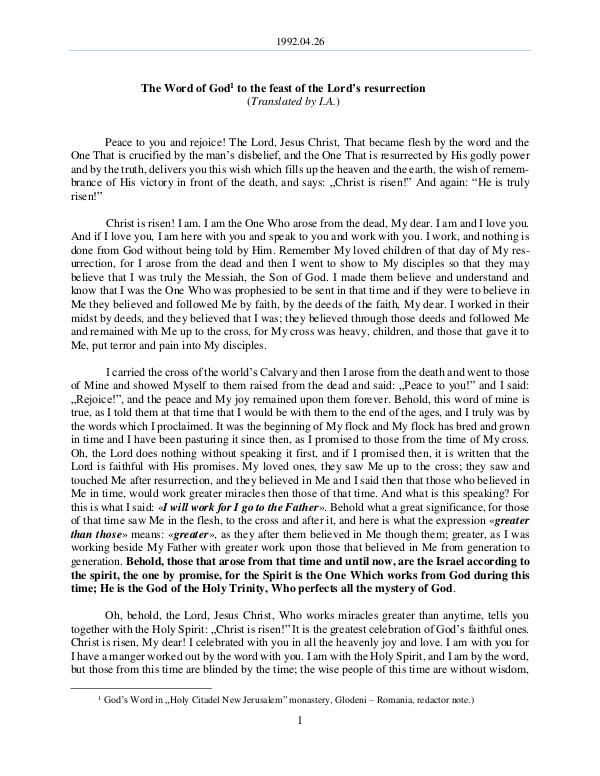 The Word of God in Romania ord's resurrection 1992.04.26 - The Word of God to the feast of the L