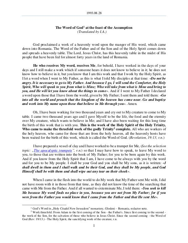 The Word of God in Romania ssumption 1993.08.28 - The Word of God at the feast of the A