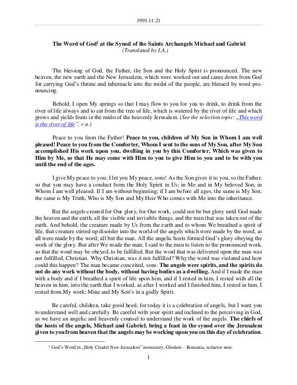 The Word of God in Romania aints Archangels Michael and Gabriel 1993.11.21 - The Word of God at the Synod of the S