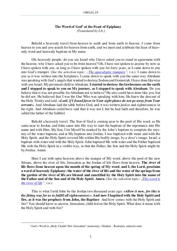 1995.01.19 - The Word of God at the Feast of Epiph