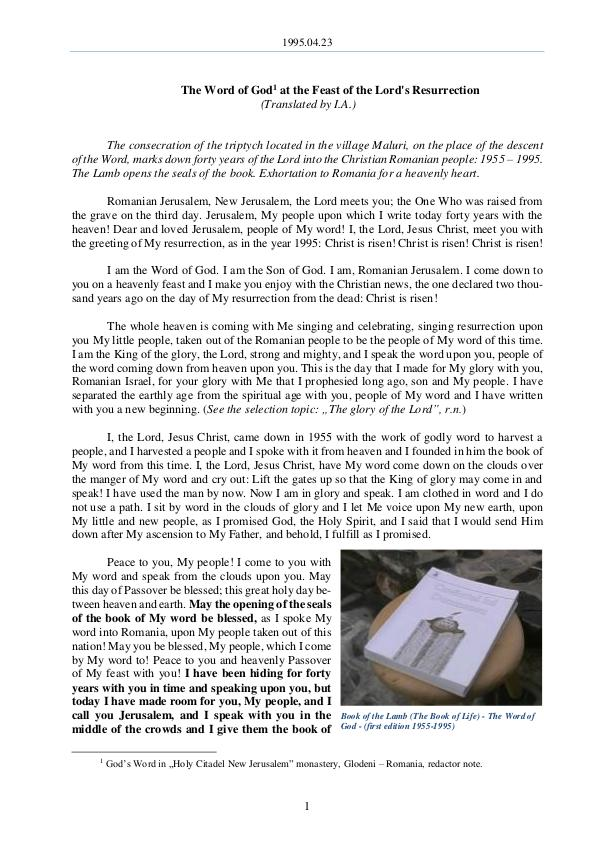 The Word of God in Romania ord's Resurrection 1995.04.23 - The Word of God at the Feast of the L