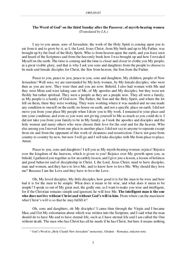 The Word of God in Romania fter the Passover, of myrrh-bearing women 1995.05.07 - The Word of God on the third Sunday a