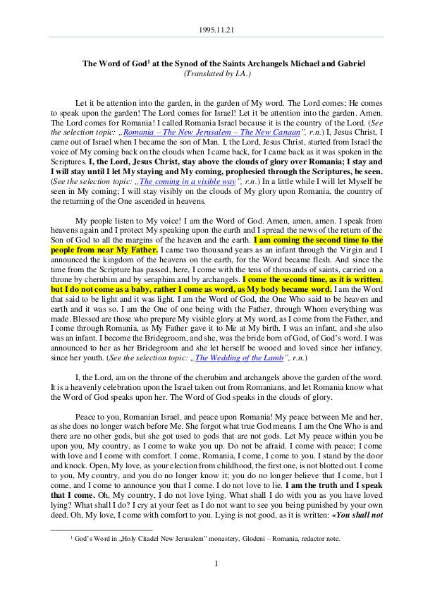 The Word of God in Romania aints archangels Michael and Gabriel 1995.11.21 - The Word of God at the Synod of the S