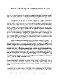 The Word of God in Romania onception of St. John, the Baptizer