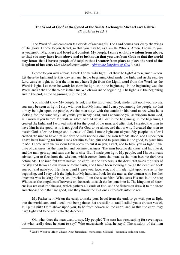 The Word of God in Romania aints Archangels Michael and Gabriel 1996.11.21 - The Word of God at the Synod of the S