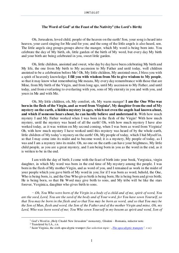 The Word of God in Romania 1997.01.07 - The Word of God at the Feast of the N
