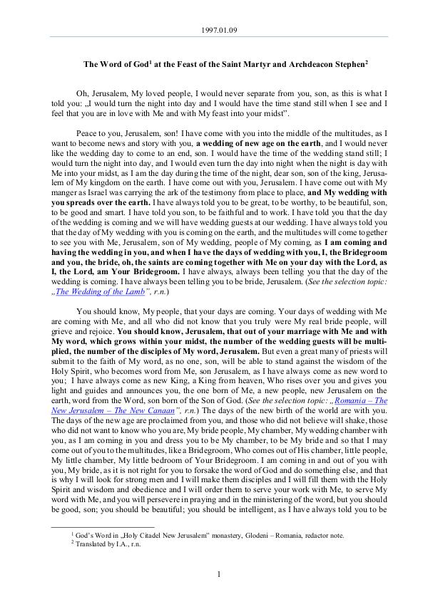 The Word of God in Romania  martyr and archdeacon Stephen 1997.01.09 - The Word of God at the Feast of saint
