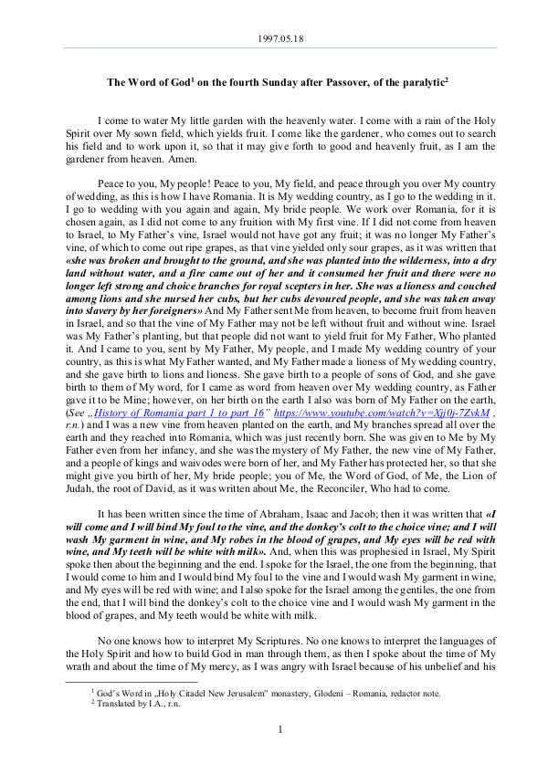The Word of God in Romania after Passover, of the paralytic 1997.05.18 - The Word of God on the fourth Sunday