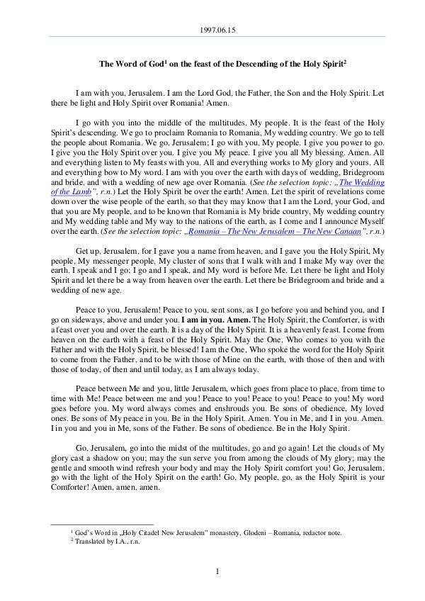 The Word of God in Romania escending of the Holy Spirit 1997.06.15 - The Word of God on the feast of the d