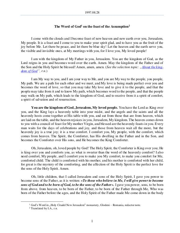 The Word of God in Romania 1997.08.28 - The Word of God on the feast of the A