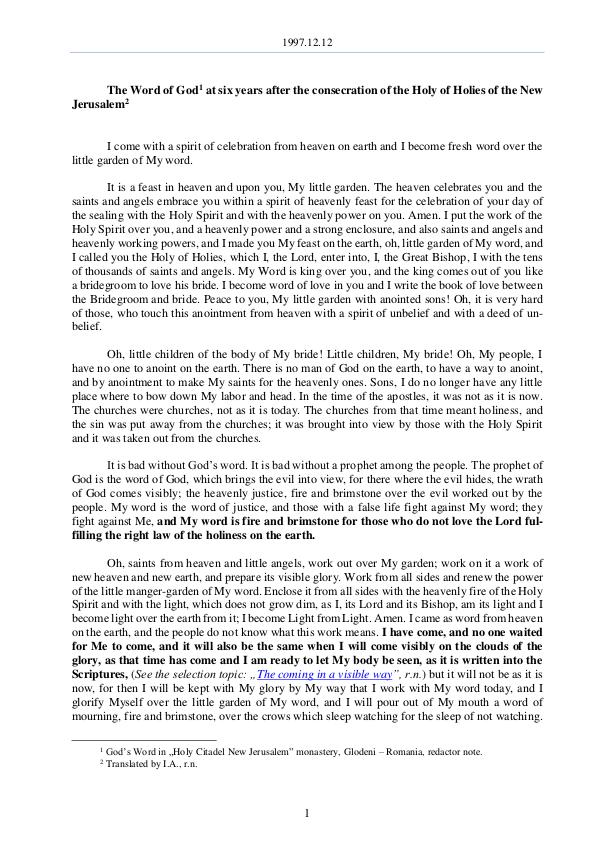 The Word of God in Romania onsecration of the Holy of Holies of the New Jerusalem 1997.12.12 - The Word of God six years after the c