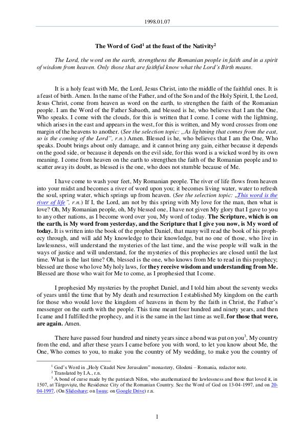 The Word of God in Romania 1998.01.07 - The Word of God at the feast of the N