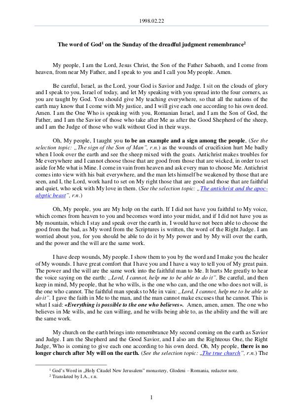 The Word of God in Romania mbrance of the dreadful judgment 1998.02.22 - The word of God on the Sunday of reme