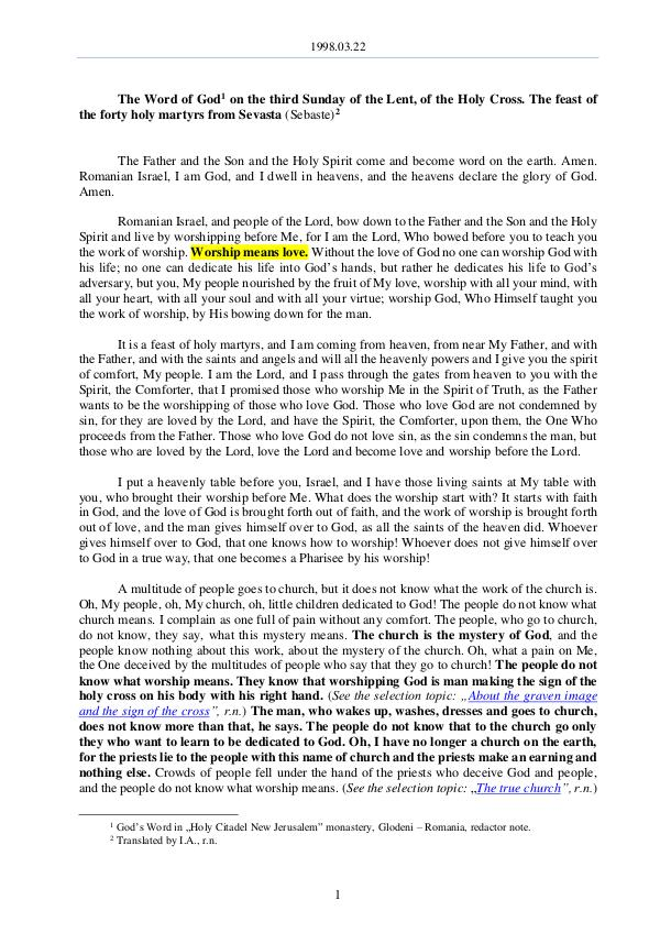 The Word of God in Romania f the Lent, of the Holy Cross 1998.03.22 - The Word of God on the third Sunday o