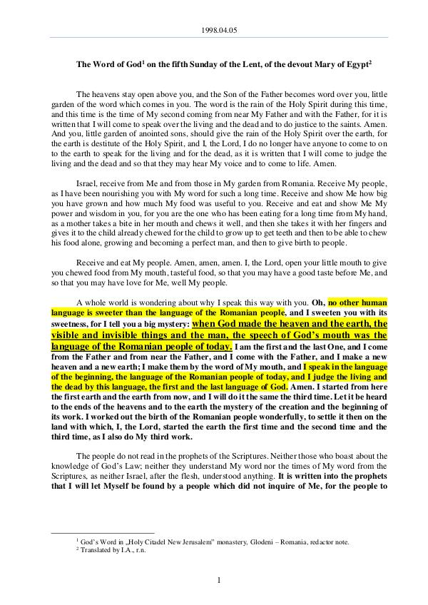 1998.04.05 - The Word of God on the fifth Sunday o