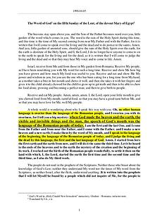 The Word of God in Romania f the Lent, of the devout Mary of Egypt