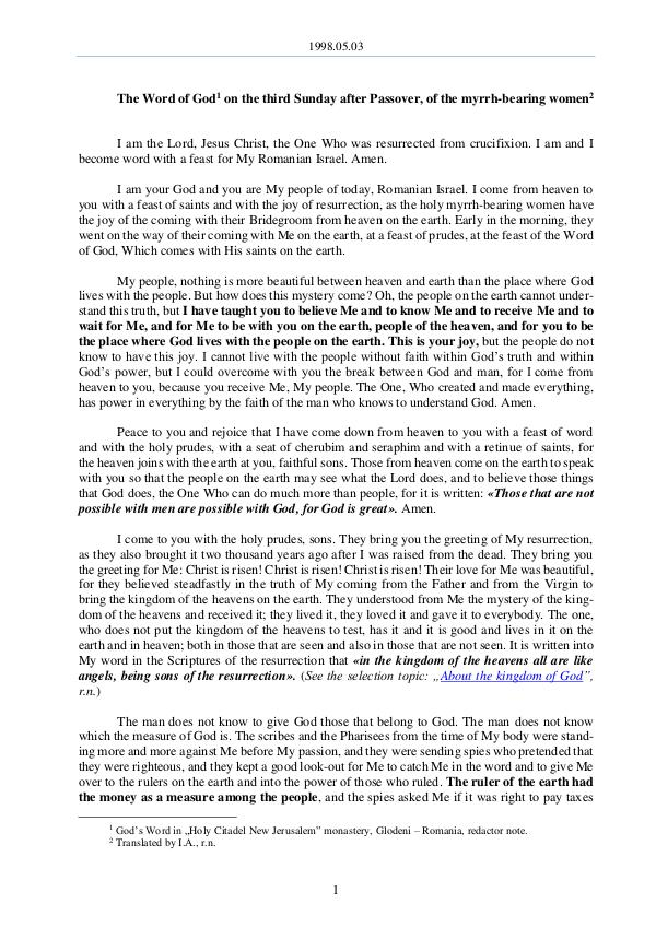The Word of God in Romania fter Passover, of the myrrh-bearing women 1998.05.03 - The Word of God on the third Sunday a