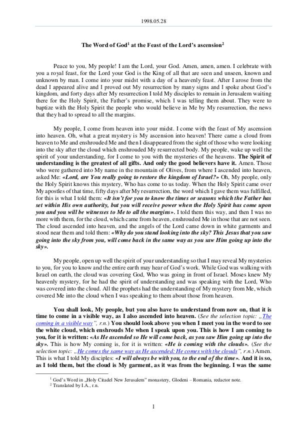 1998.05.28 - The Word of God at the Feast of the L