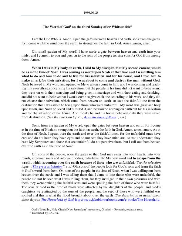 The Word of God in Romania fter Whitsuntide 1998.06.28 - The Word of God on the third Sunday a