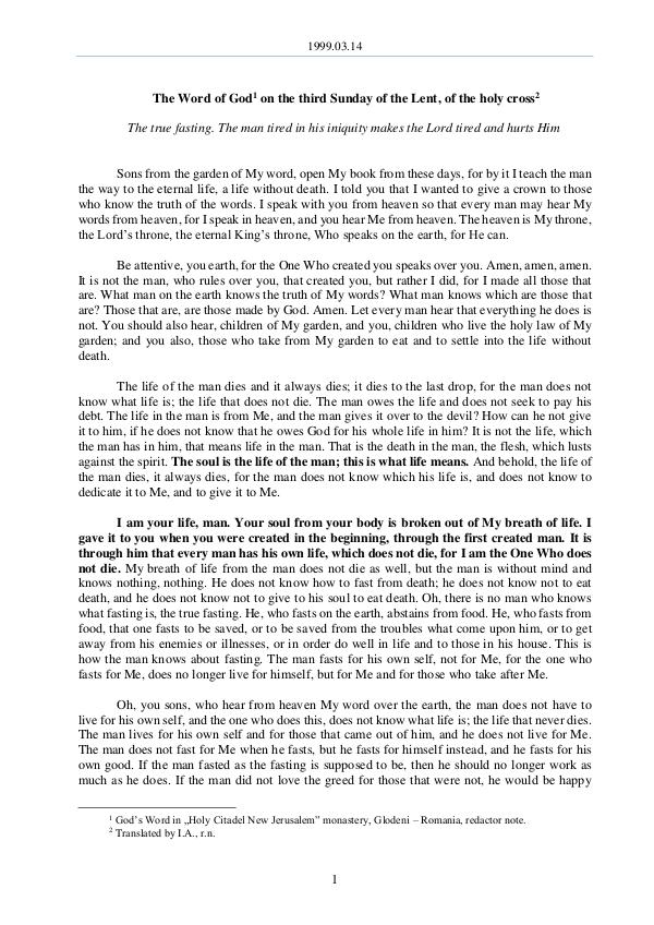 The Word of God in Romania f the Lent, of the holy cross 1999.03.14 - The Word of God on the third Sunday o