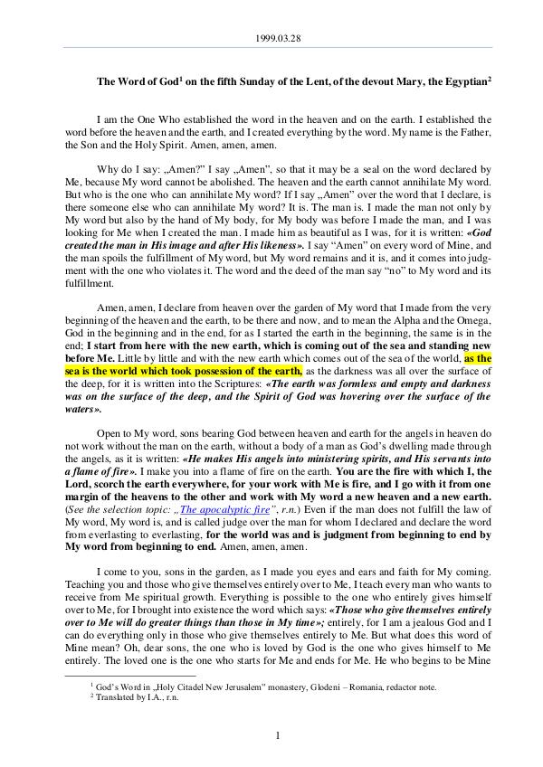 The Word of God in Romania f the Lent, of the devout Mary, the Egyptian 1999.03.28 - The Word of God on the fifth Sunday o