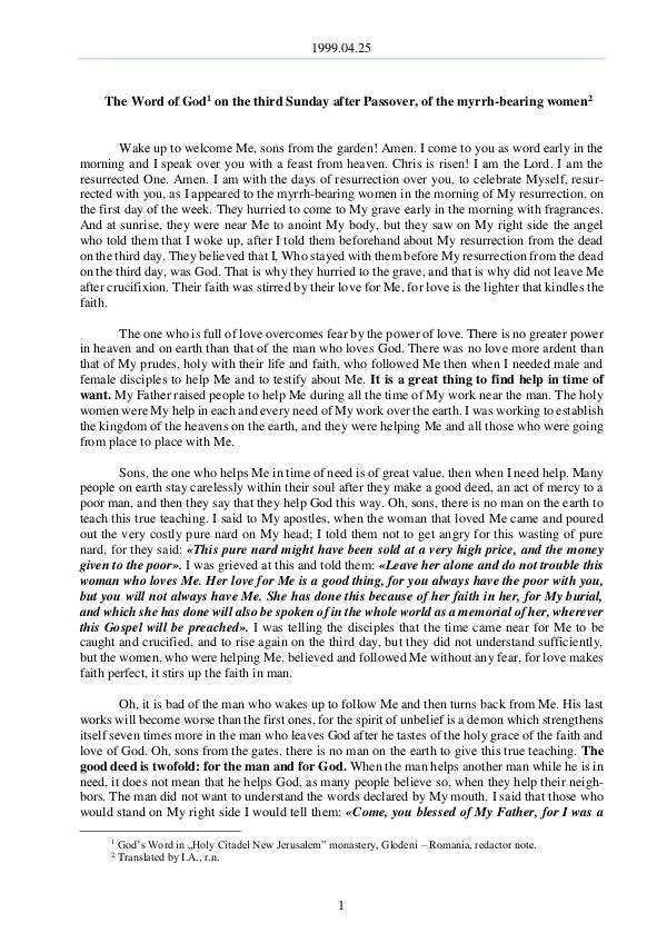 1999.04.25 - The Word of God on the third Sunday a