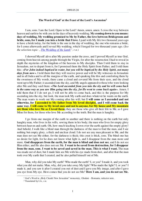 The Word of God in Romania ord's Ascension 1999.05.20 - The Word of God at the Feast of the L