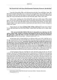 The Word of God in Romania omanian Christianity (Pentecost), the third day
