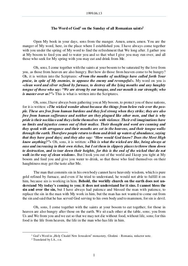 The Word of God in Romania Romanian saints 1999.06.13 - The Word of God on the Sunday of all