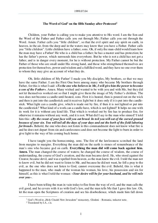 The Word of God in Romania fter Pentecost 1999.07.04 - The Word of God on the fifth Sunday a
