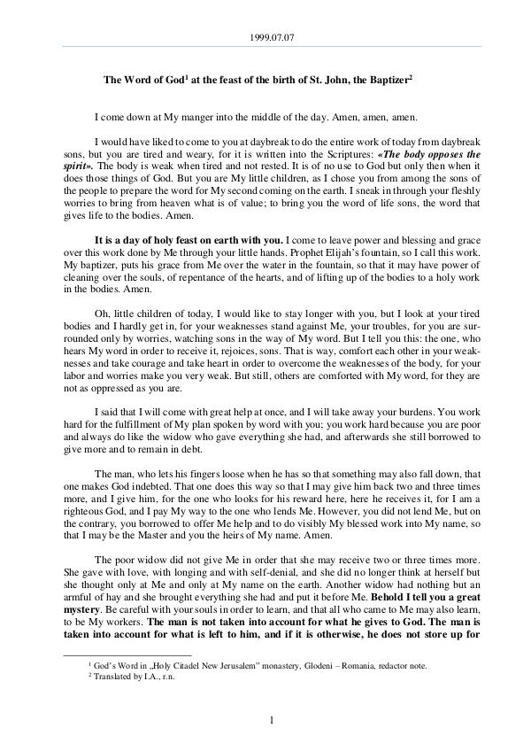 The Word of God in Romania irth of St. John, the Baptizer 1999.07.07 - The Word of God at the feast of the b