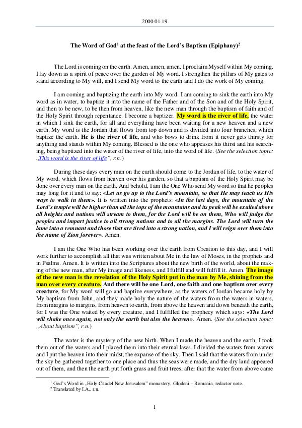 The Word of God in Romania rd's Baptism (Epiphany) 2000.01.19 - The Word of God at the feat of the Lo