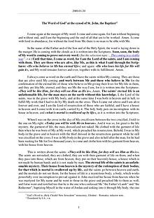 The Word of God in Romania ohn, the Baptizer