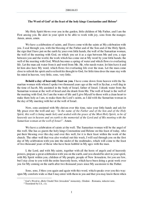 2000.06.03 - The Word of God at the feast of the h