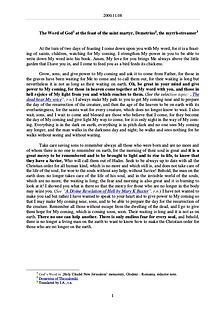 The Word of God in Romania aint martyr, Demetrius, the myrrh-streamer