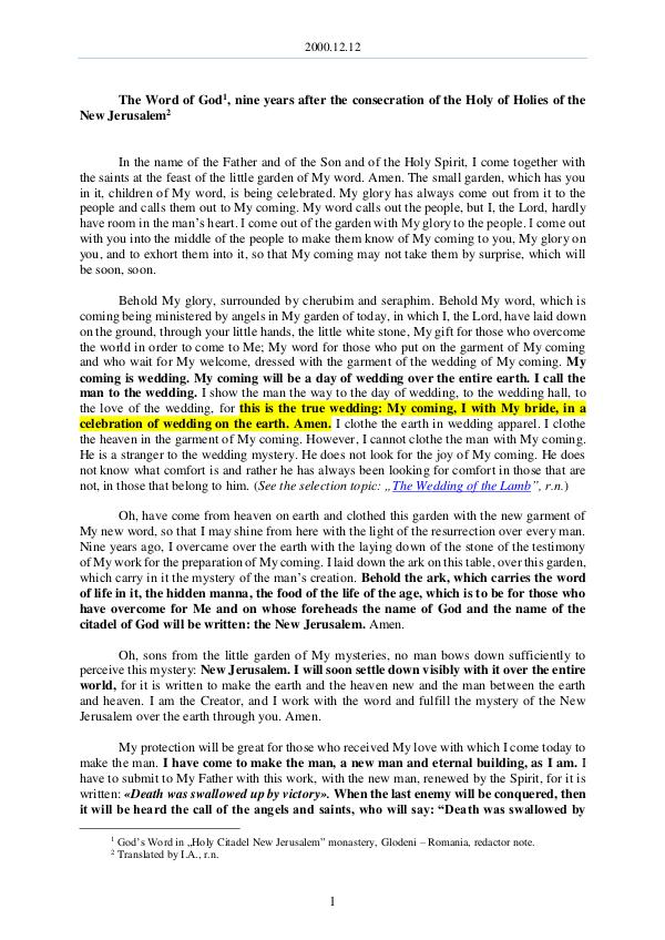 The Word of God in Romania  consecration of the Holy of Holies of the New Jerusalem 2000.12.12 - The Word of God, nine years after the